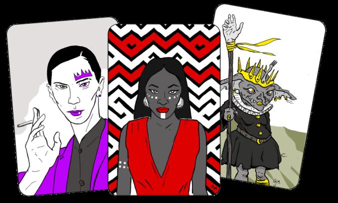 3 cartes montrant 3 Reines